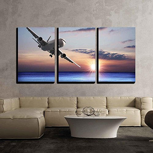 """Wall26 - 3 Piece Canvas Wall Art - Jet Aircraft over the Sea - Modern Home Decor Stretched and Framed Ready to Hang - 16""""x24""""x3 Panels"""