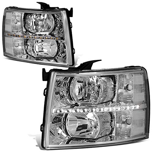 For 07-14 Chevy Silverado Pair Chrome Housing Clear Corner LED DRL Strip Headlight/Lamps