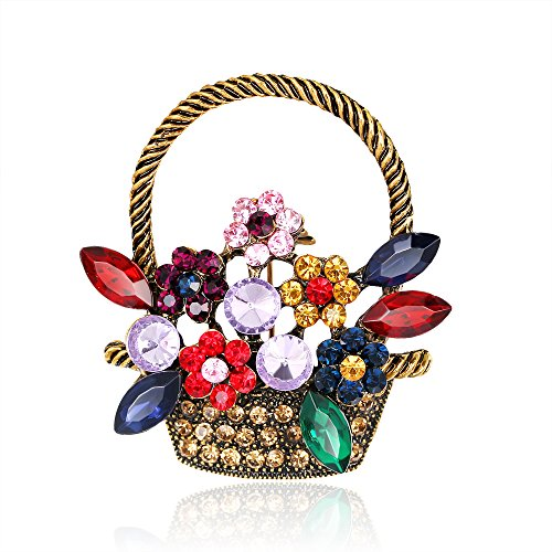 Elimya Womens Lady Girls Brooches Vintage Gold Tone Rhinestone Flower Basket Brooch Pin by Elimya