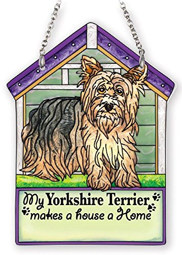 Amia 42113 Hand Painted Glass Yorkshire Terrier Dog House Suncatcher, 5-1/2 by 7-1/4-Inch (Dog Suncatcher)
