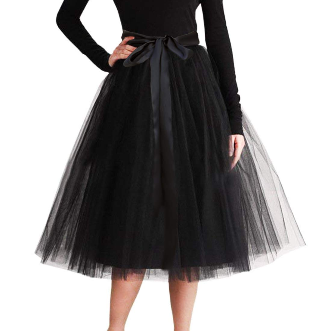 CahcyElilk Knee Length Tulle Skirt Midi Black Tutu Tulle Prom Princess Party Dance Skirt with Belt Black Small by CahcyElilk