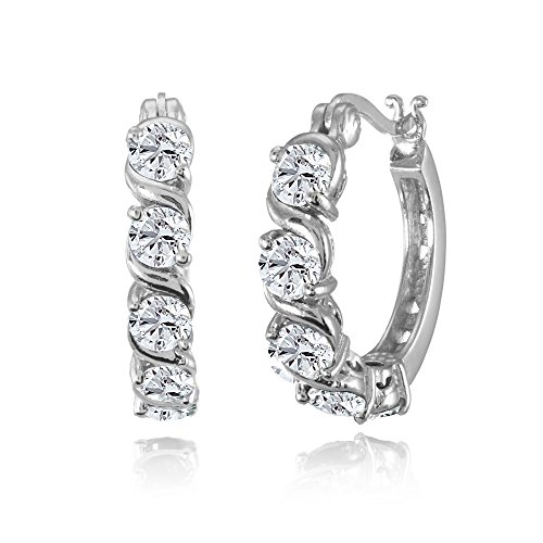 Sterling Silver Created White Sapphire S Design Round Hoop Earrings - Polished White Snap