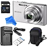 Sony DSCW830 20.1 MP ULTIMATE PRO Digital Camera Bundle (Silver) - Camera + Travel Case + High-speed 32GB SD Card + Rechargeable Battery / Charger + Ultra Gentle DigitalAndMore Microfiber Lens Cloth
