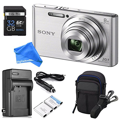 Sony DSCW830 20.1 MP ULTIMATE PRO Digital Camera Bundle (Silver) - Camera + Travel Case + High-speed 32GB SD Card + Rechargeable Battery / Charger + Ultra Gentle DigitalAndMore Microfiber Lens Cloth (Sd Card Cybershot Sony)