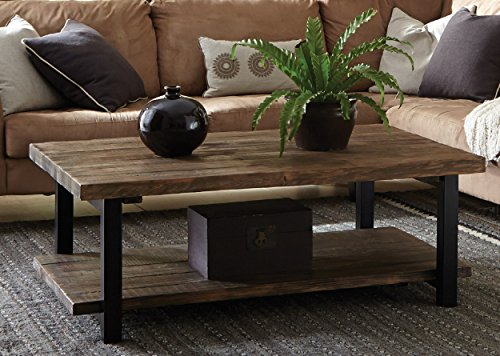 Farmhouse Coffee Tables Alaterre AZMBA1220 Sonoma Rustic Natural Coffee Table, Large, Brown, 48″, farmhouse coffee tables