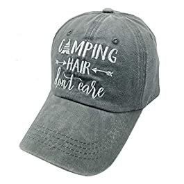Waldeal Women's Embroidered Camping Hair Don't Care Adjustable Baseball Dad Hat