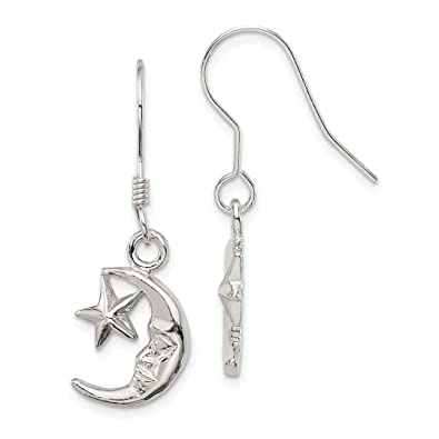 2bf0345dc Image Unavailable. Image not available for. Color: 925 Sterling Silver Moon  Star Drop Dangle Chandelier Earrings Celestial ...