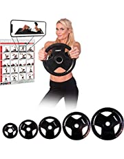 POWRX Discos olímpicos 2,5-20 kg - Pesas Ideales para Mancuernas y Barras olímpicas diámetro 51 mm (Negro)