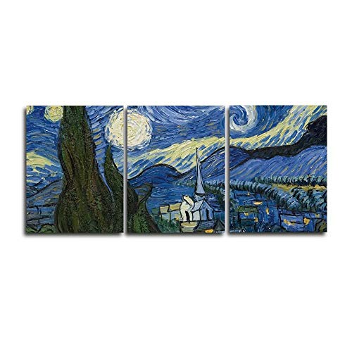Canessioa Wall Art Canvas Oil Painting Abstract Blue Sky Big Tree Small Village Artwork Home Decor Wall Decorations for Bedroom Bathroom Living Room Kitchen Dining Room Corridor(Unframed 3 Panels)