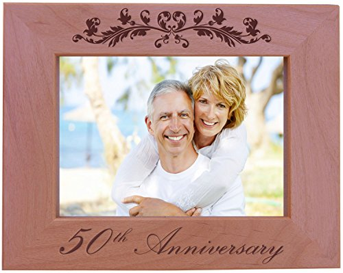 CustomGiftsNow 50th Anniversary - Wood Picture Frame - Fits 5x7 Inch Picture (Horizontal)