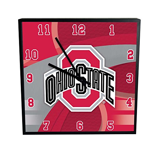 NCAA Ohio State University Official Carbon Fiber Square Clock, Multicolor, One Size (State Desk University)