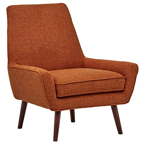 Rivet Jamie Upholstered Mid-Century Modern Low Arm Accent Chair, 31″W, Burnt Orange