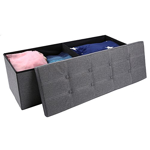 epeanhome Storage Ottoman,Folding Storage Bench, Linen-like Fabric and Foldable Stool Thickening Sponge for Livingroom 43 1/4 Deep grey (Room Seating)