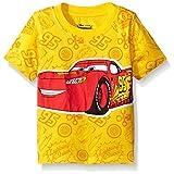 Disney Little Boys' Toddler Cars Lightning Mcqueen All-Over Print Short Sleeve T-Shirt, Yellow, 3T