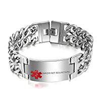 "VNOX Free Engraving-Men's Medical Alert ID Wide Large Bracelet Stainless Steel Wrist Link Chain,8.3""/8.9"""
