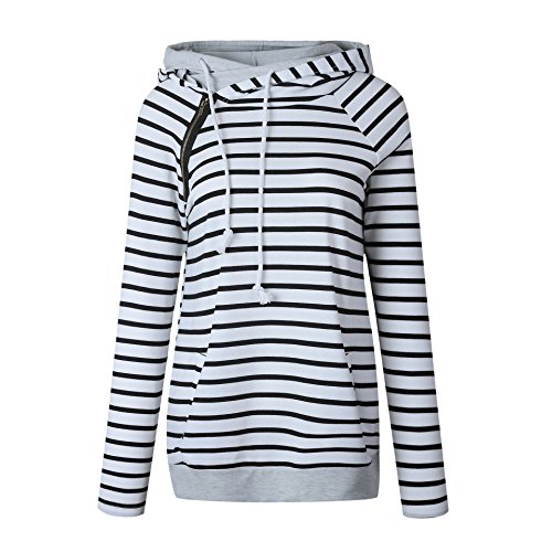 Famulily Women's Long Sleeve Double Hooded Sweatshirt Side Zipper Stripe Pullover Hoodies(White,X-Large) ()