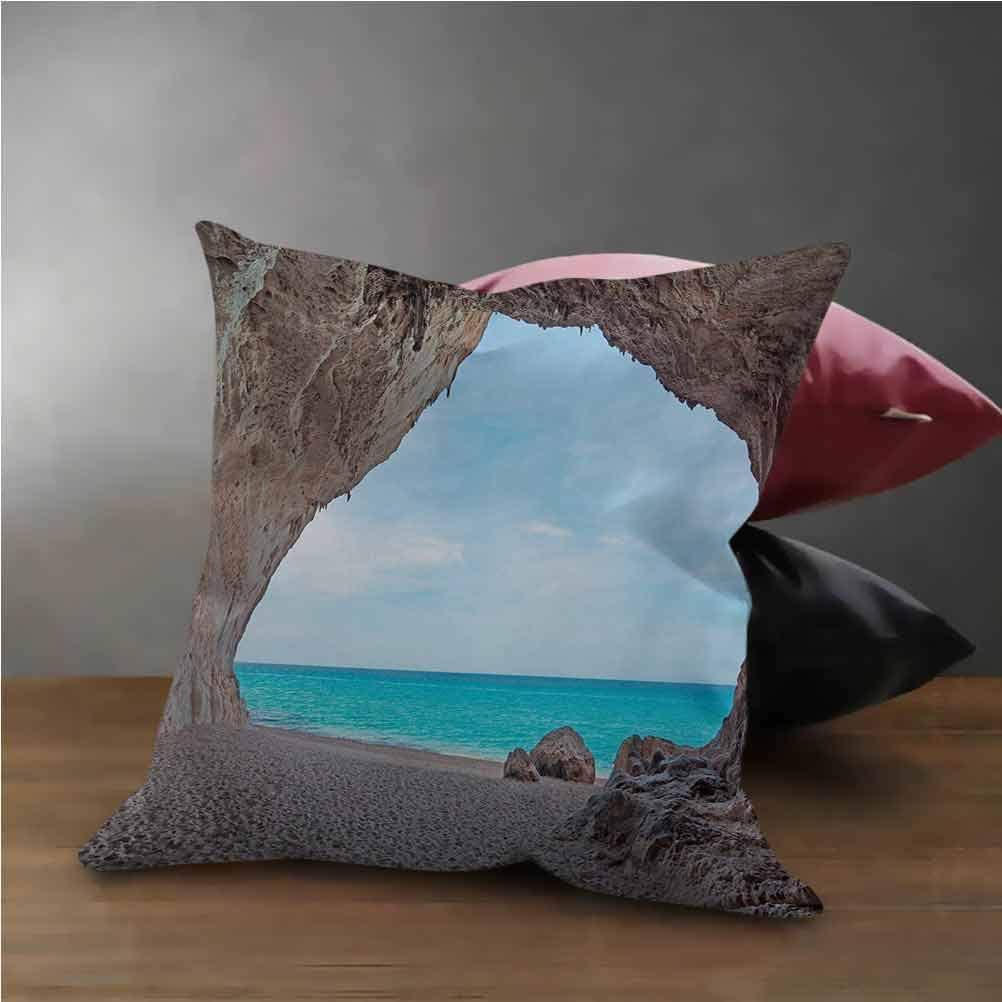 HouseLook Natural Cave Office Pillow Case Dreamy Cara Luna Cave by The Ocean Tropical Beach in Mediterranean Seashore Pillow Case for Chair, Deco Indoor Cream Blue (12