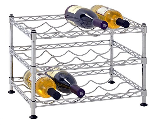 "Muscle Rack WBS181212 12-Bottle Chrome Wine Rack, 18"" by 12"", 12"" Height, 18"" width, 330 Pounds Load Capacity"
