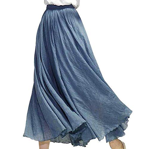 Kafeimali Women Bohemian Cotton Linen Double Layer Elastic Waist Long Maxi Skirt (Navy Blue, 95CM-Length) ()