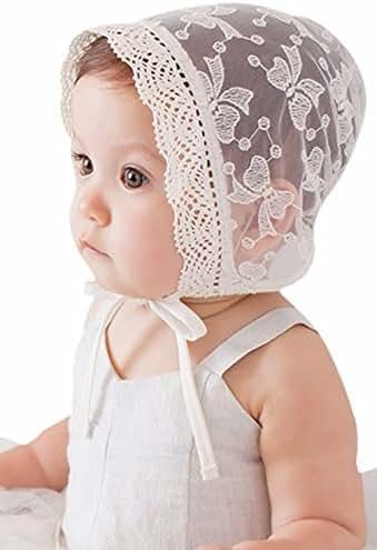 Bigface Up Baby Girl Bonnet Eyelet Lace Breathable Cotton Adjustable Christening Bonnet