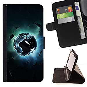 BETTY - FOR HTC One M8 - Planet Explosion - Style PU Leather Case Wallet Flip Stand Flap Closure Cover