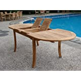 "Grade-A Teak Wood Large double extension 94"" Oval Dining Table"
