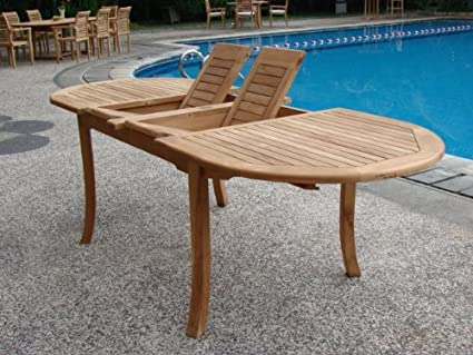 Amazoncom GradeA Teak Wood Large Double Extension Oval - Teak patio table with leaf