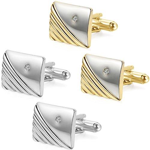 JewelryWe 4pc Boutons de Manchette Carré Sergé Chemise Mariage Business Alliage Strass Faux Diamant Or Argente Cadeau Homme