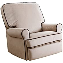 Abbyson Living Marcus Fabric Swivel Glider Recliner Chair in Sand