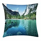 Lunarable Yosemite Throw Pillow Cushion Cover, Mirror Lake Yosemite Scenic Picture with Mountains Lakeside Trees Waterscape, Decorative Square Accent Pillow Case, 40 X 40 inches, Turquoise Blue
