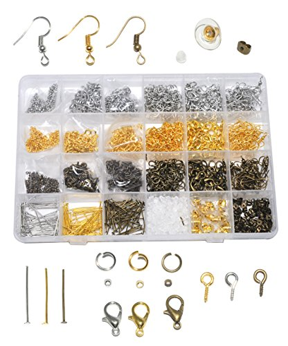 Mandala Crafts Clasp Crimp Jump Ring Screw Back Earring Hook Jewelry Making Finding Supplies Clear Box Starter Kit (Gold Silver Bronze - Crimp Eye And Hook