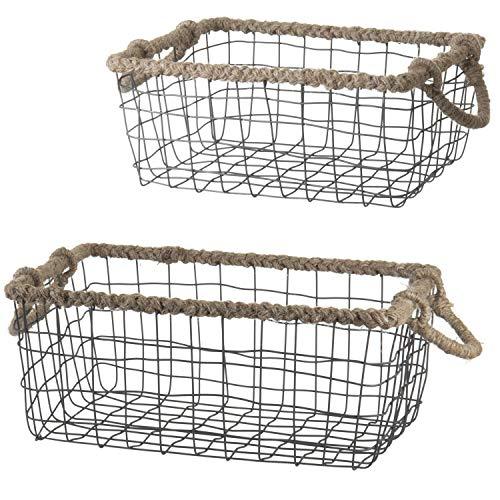 MyGift Black Wire Nesting Baskets with Braided Rope Handles, Set of 2 - Jute Rectangular Basket