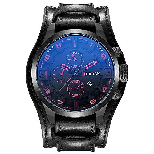 CURREN Original Men's Sports Waterproof Leather Strap Date Wrist Watch Good Quality 8225 Black