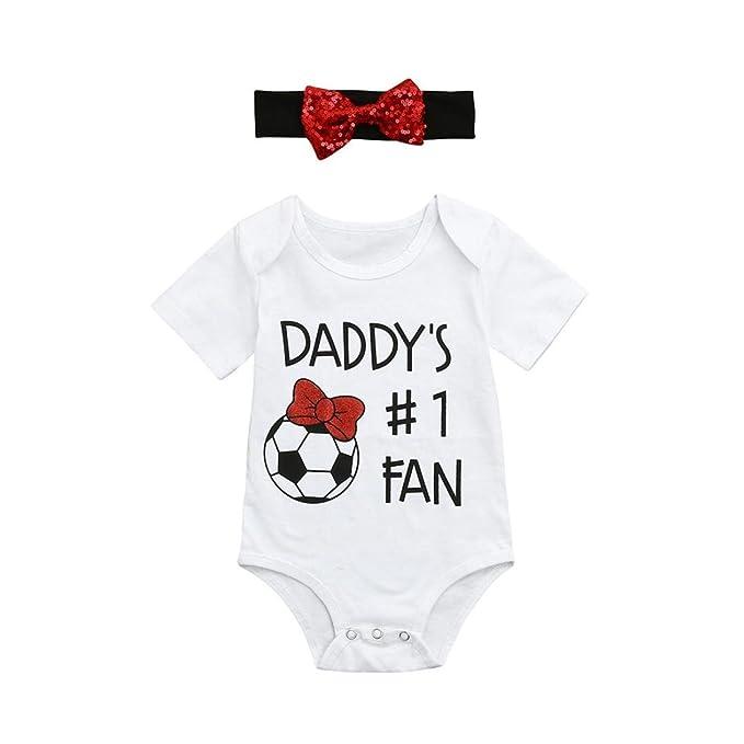 bd68cd3f784ee7 XXYsm Baby Bodys Junge Mädchen Sommer Kurzarm Vatertag Fußball Letter Print  Strampler Overall Spieler mit Schleife