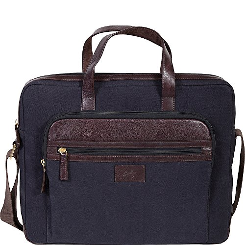 Scully Cambria Berkeley Laptop Brief (Brown Leather & Midnight Navy Canvas) (Brown Computer Brief)