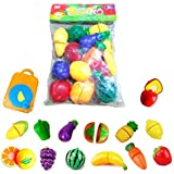 Happy GiftMart 15 Pcs Fruit and Vegetables Cutting Play Toy Chopping Cutter Set Realistic Sliceable