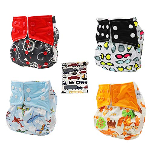 Pocket Cloth Diapers All in One Design Adjustable Size 4 Pack and 4 Built-in Inserts and 1 Wet Bag…