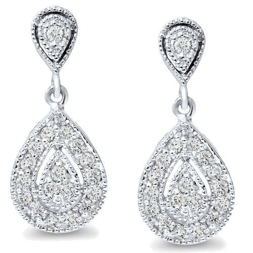 1/2ct Pear Shape Dangle Diamond Earrings 10K White Gold ()