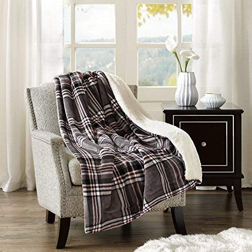 Comfort Spaces CS50-0308 Sherpa/Plush Blanket for Couch-50x60 inches Lightweight Cozy Sofa Couch Throw for Beds Office Lap Plaid- Red, Black, Plaid, Grey