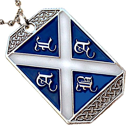Bead Necklace Flag - VENICEBEE SCOTLAND FLAG SALTIRE ALBA SCOTTISH ST.ANDREW'S CROSS PENDANT DOG TAG BALL CHAIN NECKLACE