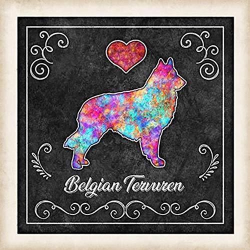 Belgian Tervuren Dog Chalk Art Mounted Print by Dan Morris ()