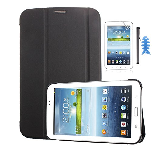 Fullkang Leather Case Cover for Samsung Galaxy Tab 3 7.0 T210 T211+Film+Stylus+Cable Winder (Black)