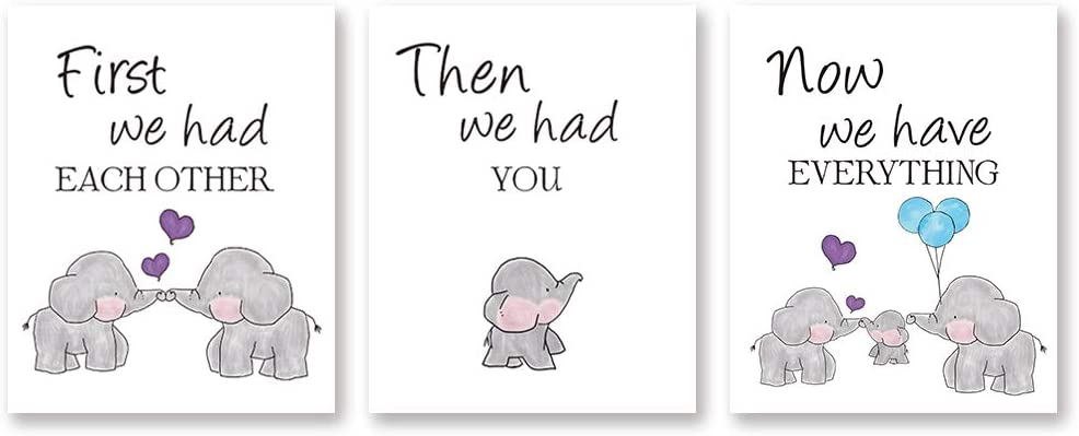 Amazon Com Cute Baby Elephant Watercolor Art Print Set Of 3 Balloon Elephant Family Love Quote Wall Art Poster Living Room Bedroom Home Decor Nursery Art Canvas Unframed 8x10 Inch Everything Else