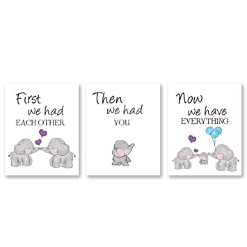 Kairne Cute Baby Elephant Watercolor Art Print Set Of 3 Balloon Elephant Family Love Quote Wall Art Poster Living Room Bedroom Home Decor Nursery Art Canvas Unframed 8x10 Inch Amazon In Home Kitchen