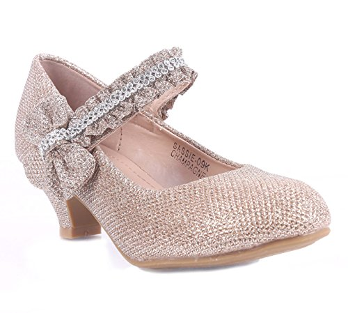 Girls Glitter Blink Bowknot Rhinestone Sparkling Kitten Heels Youth Party Dress Shoes (9, Champagne)