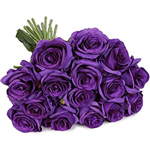 Luyue Artificial Silk Rose Flower Bouquet Wedding Party Home Decor, Pack of 10 (Style 1-Purple) 2