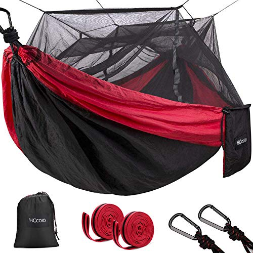 HCcolo Double Camping Hammock with Mosquito Net, 10ft Hammock Tree Straps & Carabiners, Lightweight Nylon Parachute Hammocks for Camping, Travel, Beach, Hiking, Backyard(Hold Up to 440lbs) (Red)