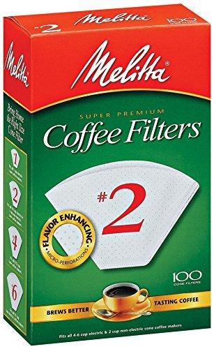 Melitta Cone Coffee Filters, White, No. 2, 100 count White Cone Coffee Filters