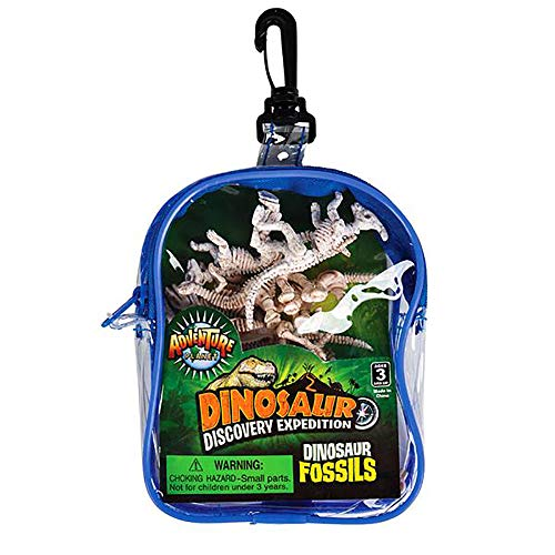 Kicko Assorted Dinosaur Fossil Skeleton Figures- 12 Pieces of Plastic Dino Skeletal Bodies in a Transparent Bag- Variety of Species for Science Projects, Jurassic-Themed Parties, and Halloween Decors