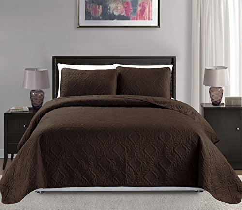 """Mk Collection King/California king over size 118""""x106"""" 3 pc Diamond Bedspread Bed-cover Embossed solid Brown/Choclate New"""